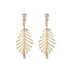 Clear Crystal Gold Leaf Big Statement Earrings